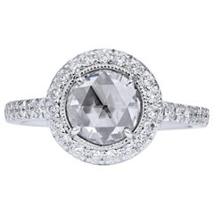 H & H 0.89 Carat Rose Cut Diamond Engagement Ring