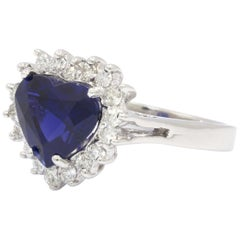 Heart Shaped 3.87 Carat Sapphire and Diamond White Gold Ring