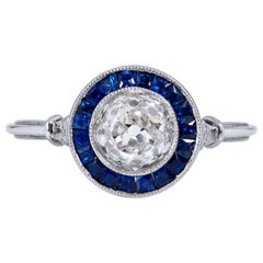 Art Deco Style New 1.16 Carat Old European Cut Diamond Sapphire Platinum Ring