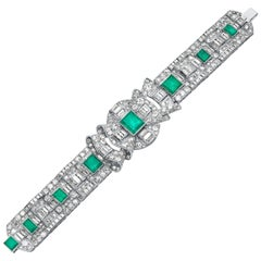 Retro 1940s Old Brilliant and Baguette Cut Diamond and Emerald, Wide Bracelet