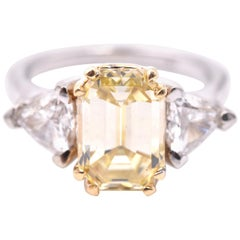 18 Karat Yellow and White Gold 3.12 Carat Fancy Yellow Diamond Engagement Ring