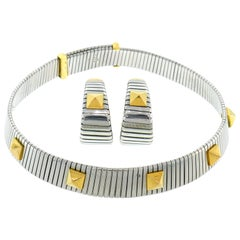 Bulgari Tubogas Earrings and Necklace Set Stainless Steel Yellow Gold, 1980s