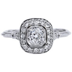 Art Deco Style Old Mine Cut 0.73 Carat Diamond Platinum Halo Engagement Ring