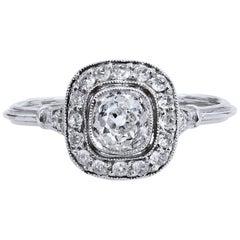 Art Deco Style Old Mine Cut .73 Carat Diamond Platinum Halo Engagement Ring 6.75