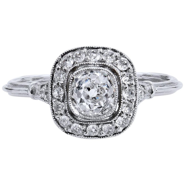 Art Deco Style Old Mine Cut 0.73 Carat Diamond Platinum Halo Engagement Ring For Sale