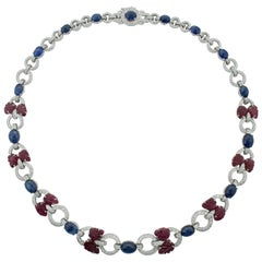 Sapphire, Ruby and Diamond Necklace