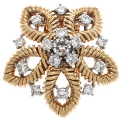 1950s Cartier Paris Diamond Gold Flower Brooch