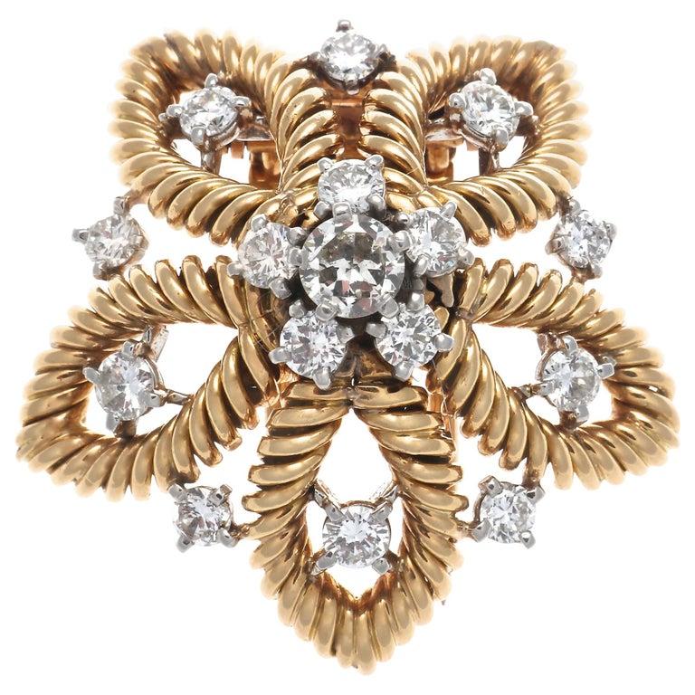 1950s Cartier Paris Diamond Gold Flower Brooch For Sale
