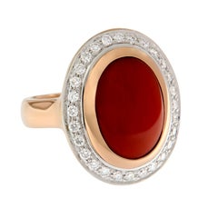 Natural Untreated Oval Coral Diamond Cocktail Ring 18 Karat Rose Gold