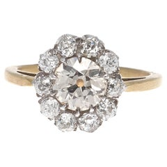 Victorian 0.97 Carat Diamond Gold Cluster Engagement Ring