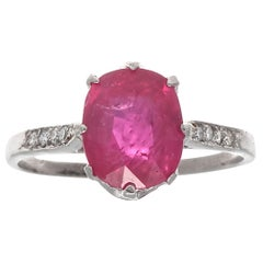 Art Deco GIA Natural Ruby Diamond Platinum Engagement Ring