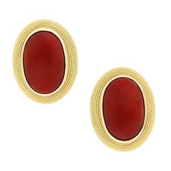 Oval Cabochon Natural Untreated Coral Stud Button Earrings