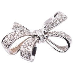 14 Karat White Diamond Bow Pin