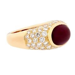Cabochon Natural Ruby Diamond Dome 18 Karat Yellow Gold Ring