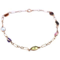 14 Karat Yellow Gold Multi-Stone Ankle Bracelet