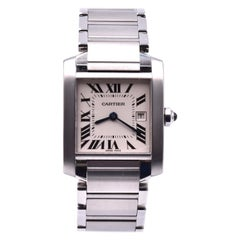Cartier Tank Francaise Stainless Steel Wristwatch Ref 2465