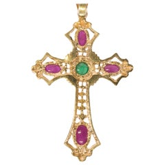 Ruby and Emerald Cross Pendant