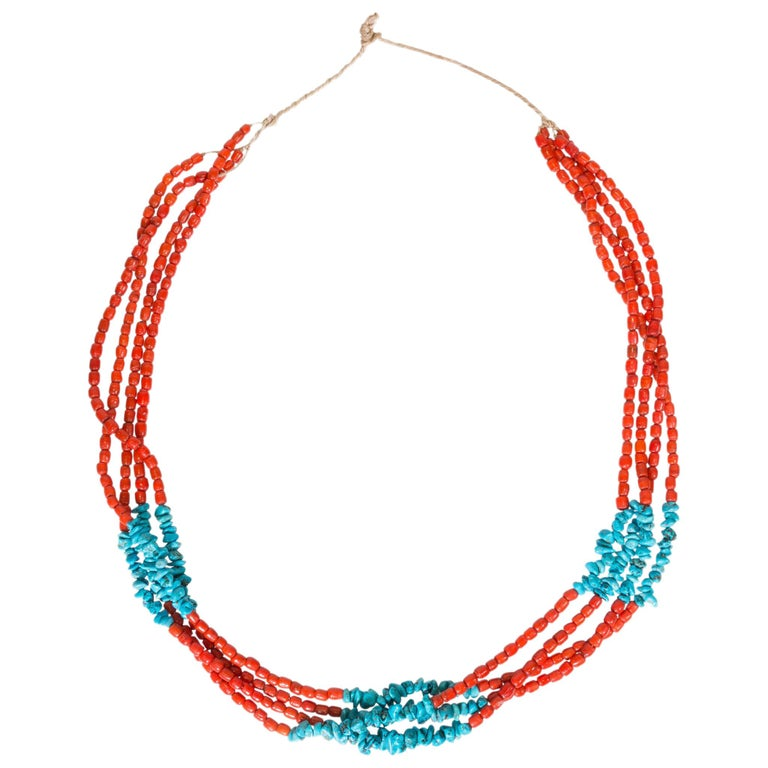 Santa Domingo Coral and Turquoise Necklace For Sale
