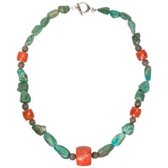 Navajo Turquoise and Coral Nugget Necklace