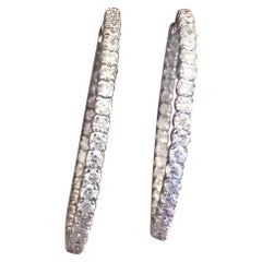 Estate 6.40 Carat G-H VS Diamond Inside Outside Hoop Earrings
