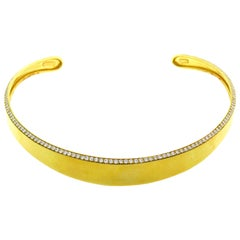 Robert Lee Morris Diamond Gold Choker Necklace
