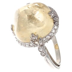 Art Deco Yellow Sapphire Diamond Platinum Ring