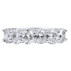 Six Oval Diamond Platinum Band Ring