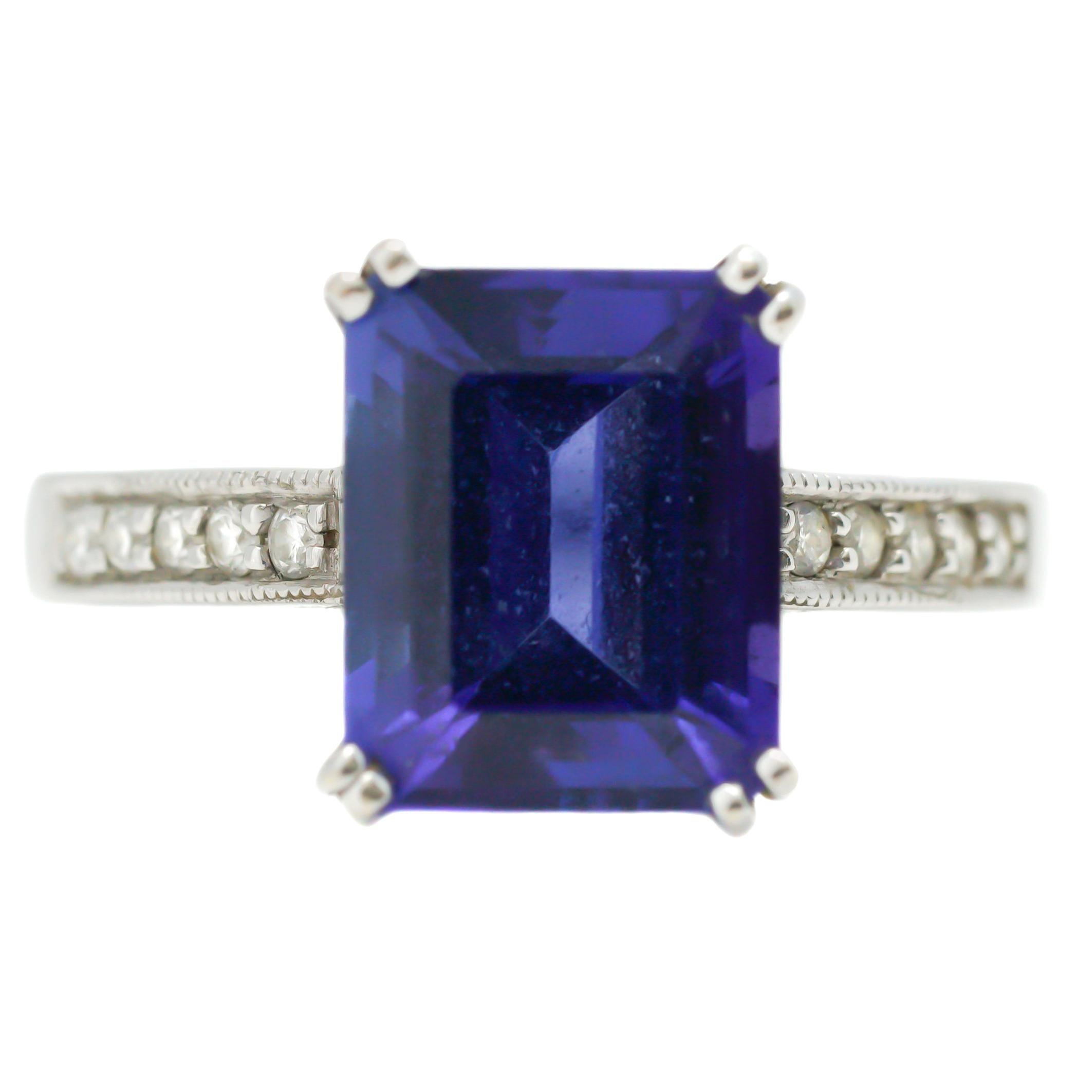 5.0 Carat Tanzanite and Diamond 14 Karat White Gold Ring