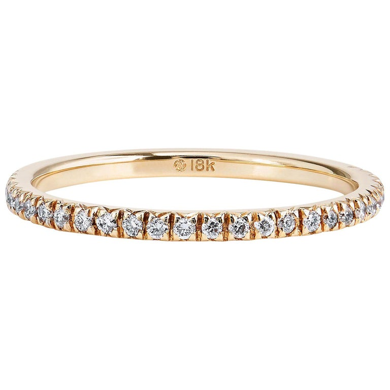 18 Karat Yellow Gold Band Ring with 0.14 Carats Total Weight of Diamonds For Sale