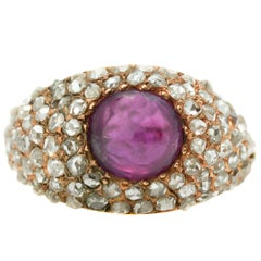 Antique 1.25 Carat Diamond and Burma Ruby 14 Karat Rose Gold Ring