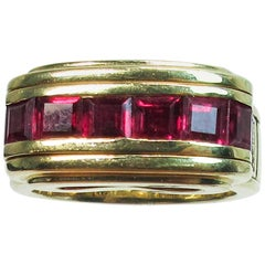 Mouawad 18 Karat Yellow Gold Diamond and Ruby Ring