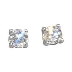 Vintag 14 Karat Gold 0.75 Carat Old European Diamond Stud Earrings
