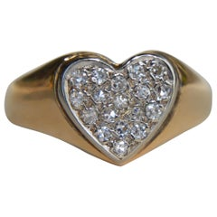 Vintage 14 Karat Gold Diamond Pave Heart Signet Ring
