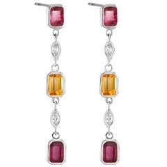 Ruby Yellow Sapphire Marquise Diamond Drop Earrings Weighing 3.65 Carat