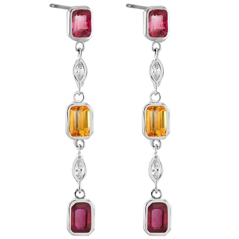 Ruby Yellow Sapphire Marquise Diamond Drop Earrings Weighing 3.65 Carat For Sale