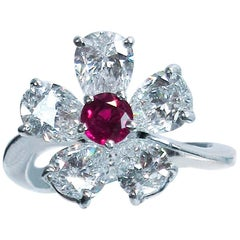 Graff 18 Karat White Gold Diamonds and Ruby Daisy Ring