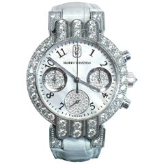 Harry Winston 18 Karat White Gold and Pavé Diamond Watch with Exotic Strap