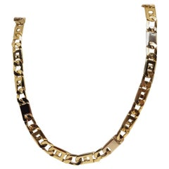 18 Karat Yellow White Gold Men's Chain Necklace
