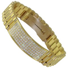 4.80 Carat 18 Karat Yellow Gold White Diamond Men's Bracelet