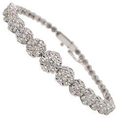 5.50 Carat 18 Karat White Gold Diamond Tennis Bracelet