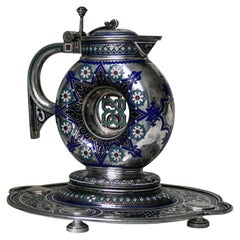 Russian Antique Silver and Enamel Jug on Stand