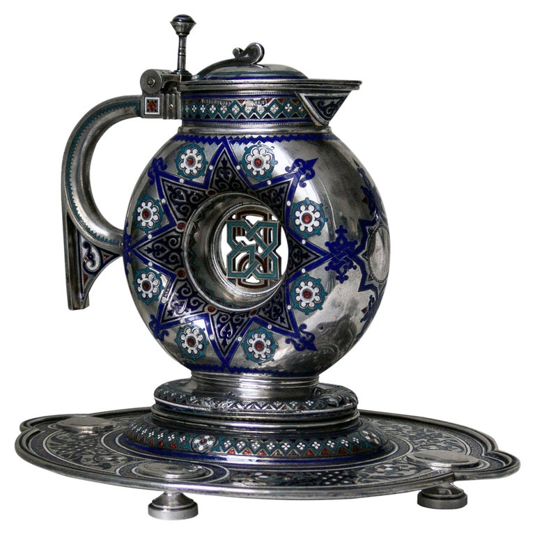 Russian Antique Silver and Enamel Jug on Stand For Sale