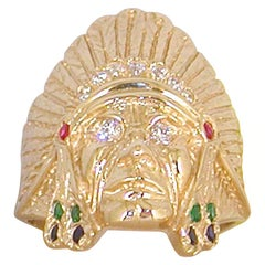 1.05 Carat 18 Karat Yellow Gold Diamond Ruby Emerald Indian Head Men's Ring