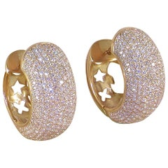 12.60 Carat 18 Karat Yellow Gold White Diamond Hoop Earrings