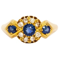 Edwardian Sapphire and Diamond 18 Carat Gold Ring