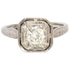 Edwardian Diamond 18 Carat White Gold Ring