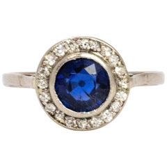 Edwardian Sapphire and Diamond Platinum Ring