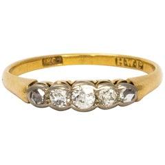 Edwardian 18 Karat Gold Platinum Five-Stone Diamond Ring