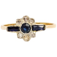 Art Deco Sapphire and Diamond Gold Ring