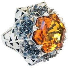 Silver Fractal Citrine Sun Ring